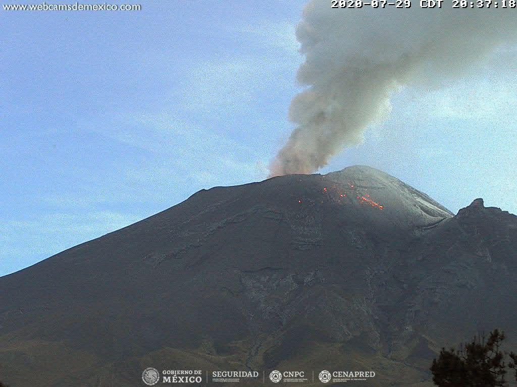 En las últimas 24 horas, mediante el sistema de monitoreo del volcán Popocatépetl se identificaron 12 exhalaciones y 1 250 minutos de tremor.