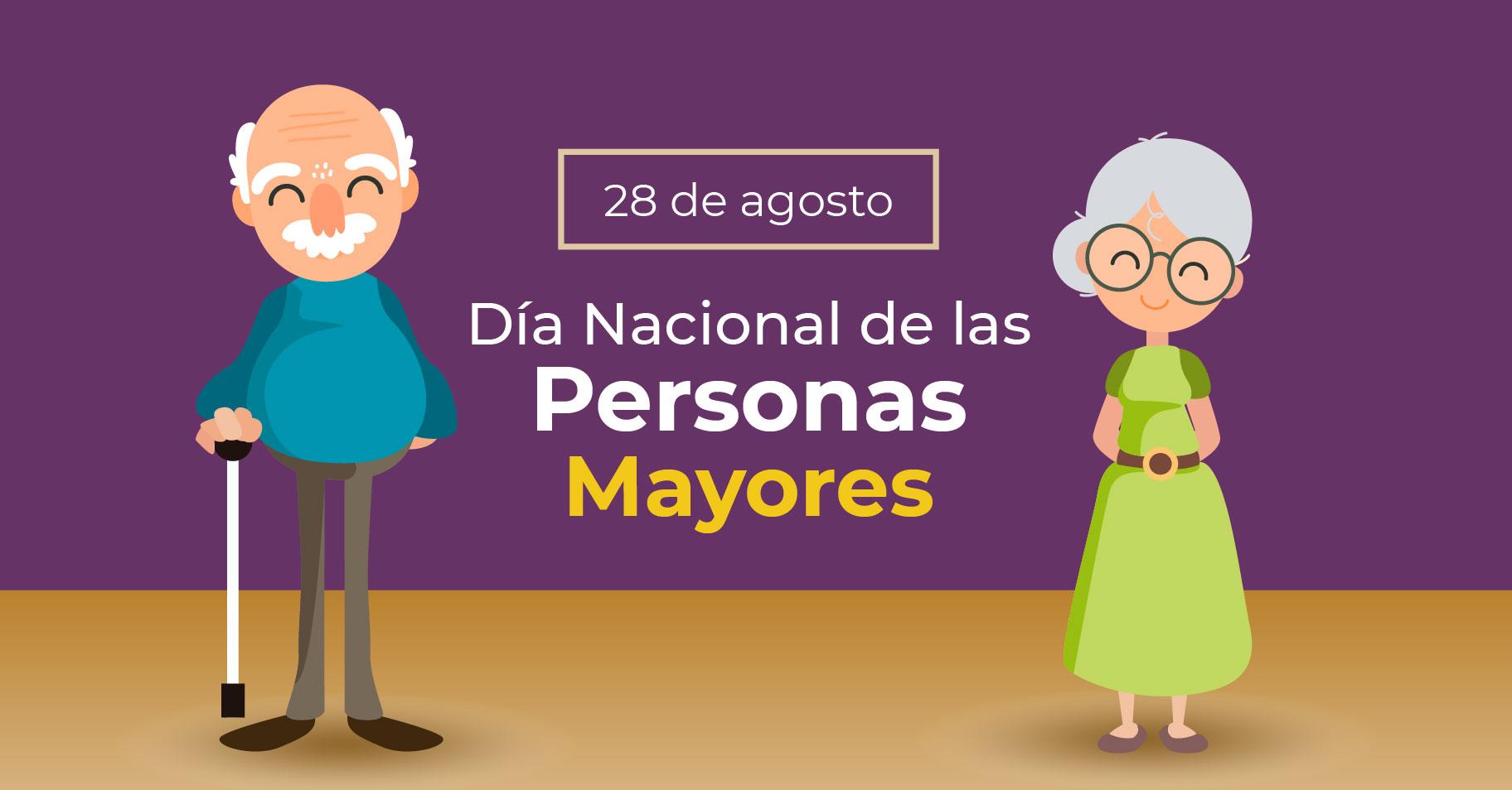 Ilustración con dos adultos mayores (hombre y mujer).