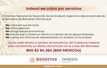 Indesol alerta a la población por presunto intento de fraude