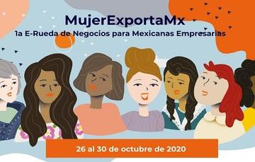 Gráfico con diversidad de mujeres que promueve MujerExportaMx