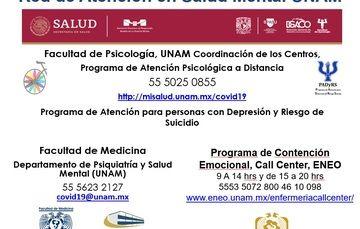Números telefónicos y páginas web para atender a personas con riesgo de suicidio en la UNAM