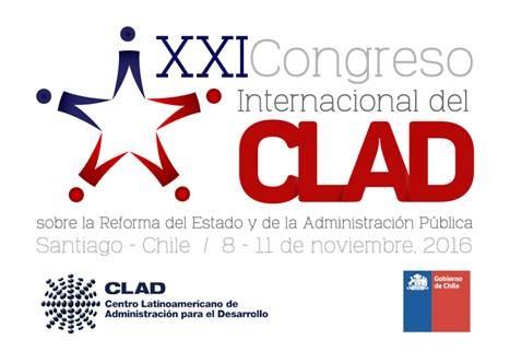 Texto referente al Congreso del CLAD en color azul, gris y rojo