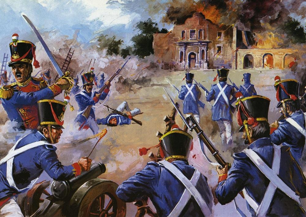 La fortaleza del Alamo eran guardadas por el Ejército de la República.
