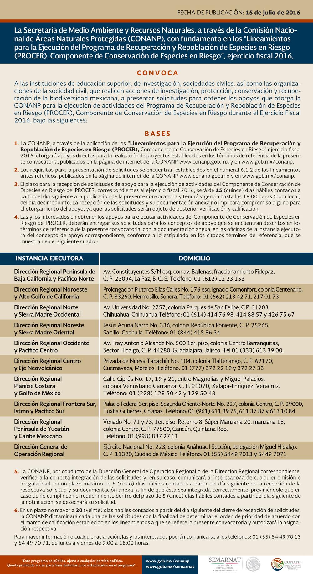 CONVOCATORIA: Programa de Recuperación y Repoblación de Especies en Riesgo (PROCER)