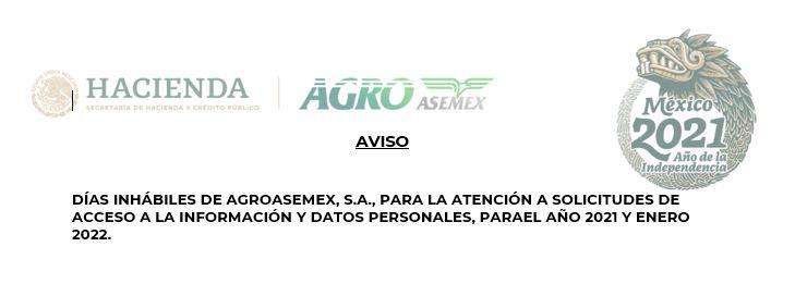 Calendario días inhábiles Agroasemex