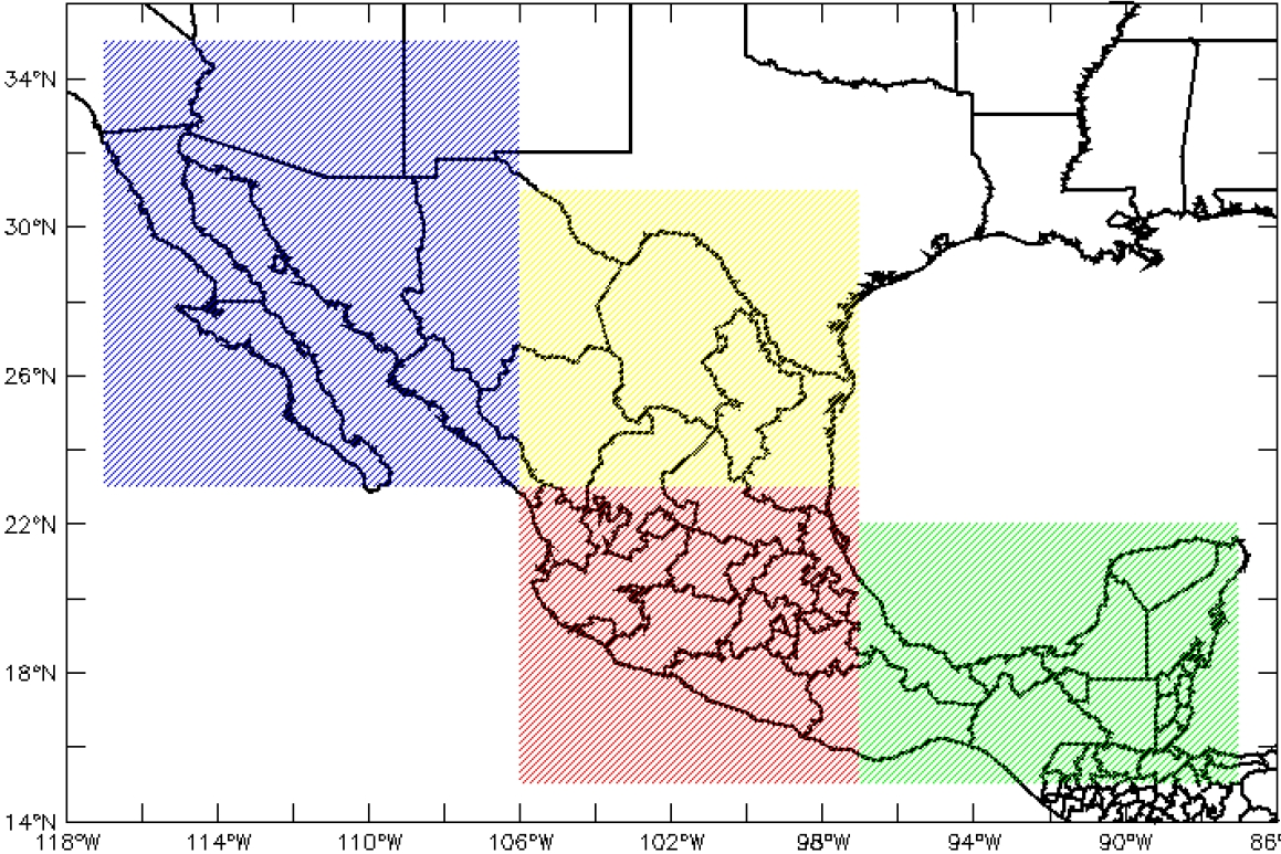 Regiones consideradas para la validación del REA y para el análisis de métricas e índices climáticos