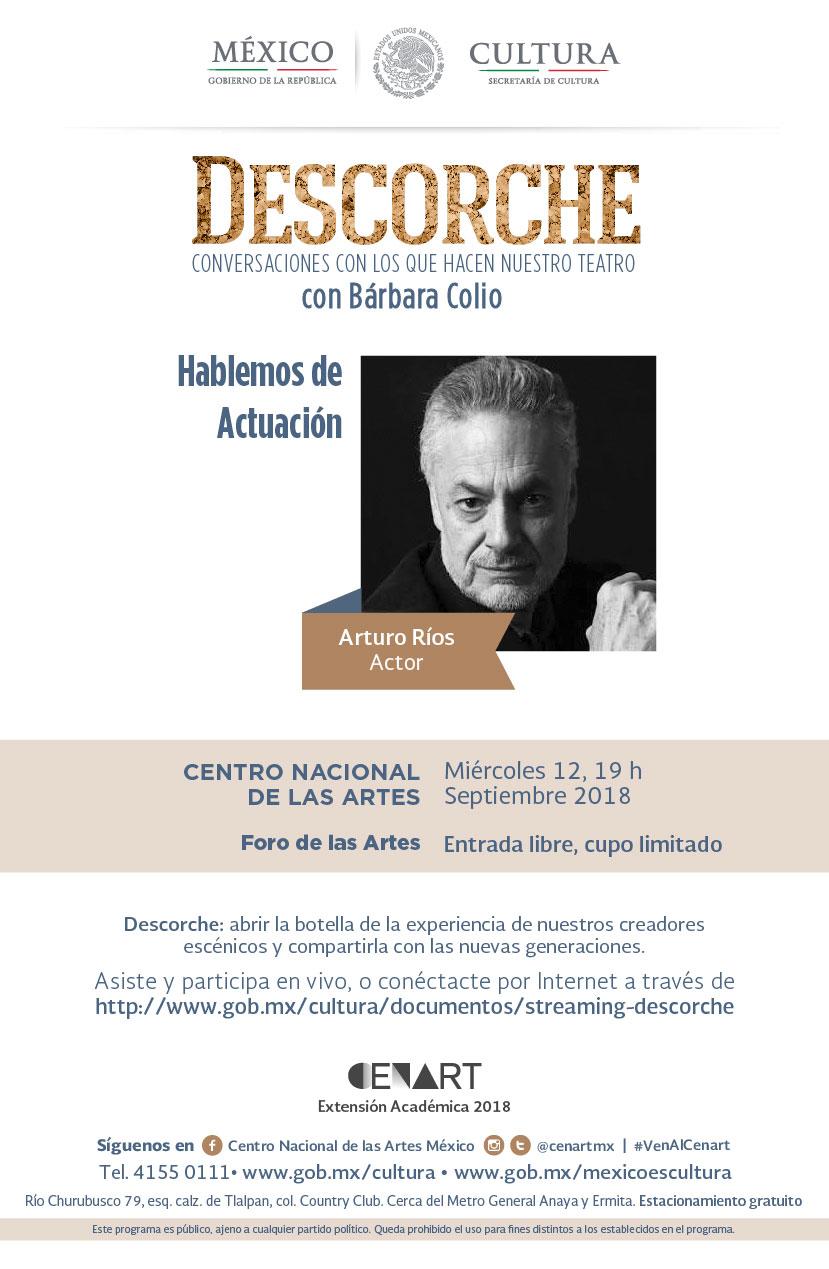 Imagen de programa DESCORCHE, Conversaciones con los que hacen nuestro teatro con Bárbara Colio. Hablemos de actuación con el actor Arturo Ríos.