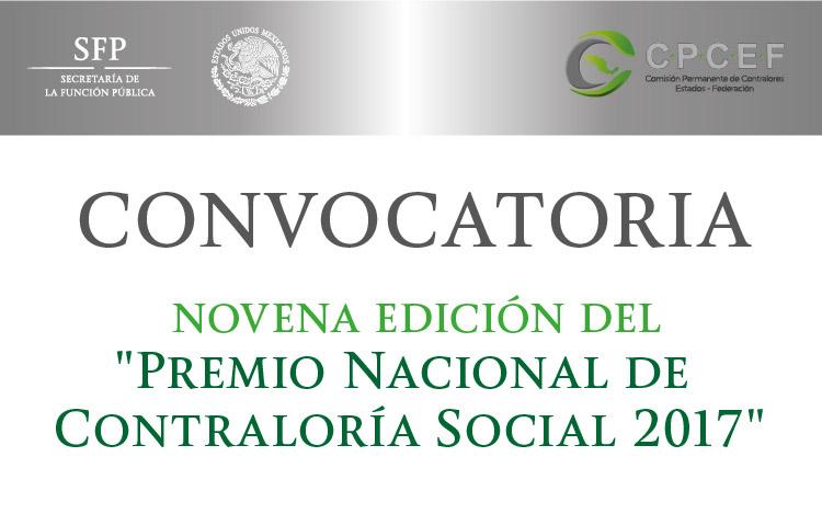 """Convocatoria: Novena edición del """"Premio Nacional de Contraloría Social 2017"""""""