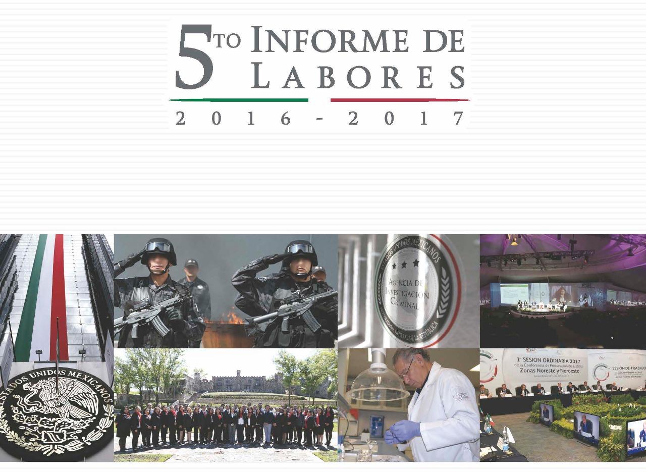 portada del 5o Informe de Labores, fondo gris con imágenes de eventos de PGR