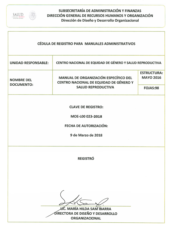 Imagen de la caratula del Manual de Organización Específico.