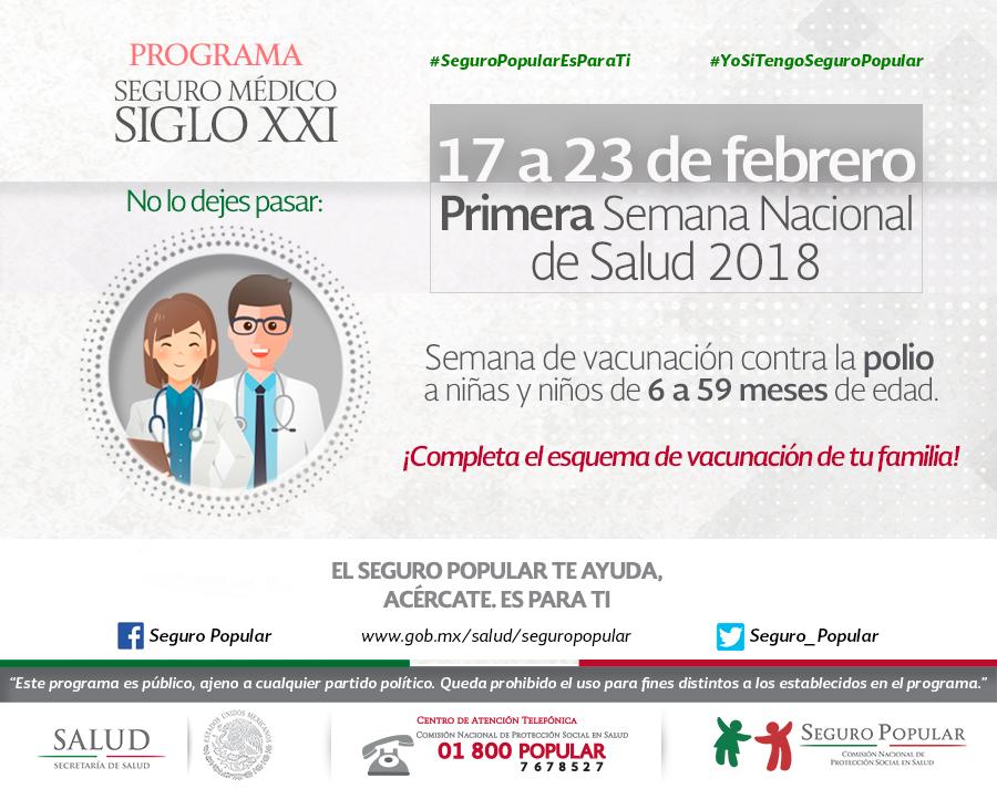 Primera Semana Nacional de Salud 2018, Programa Seguro Médico Siglo XXI.