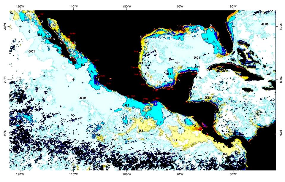 imagen que muestra la distribución de clorofila en el mar