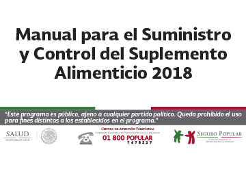 Manual para el Suministro y Control del Suplemento Alimenticio 2018.