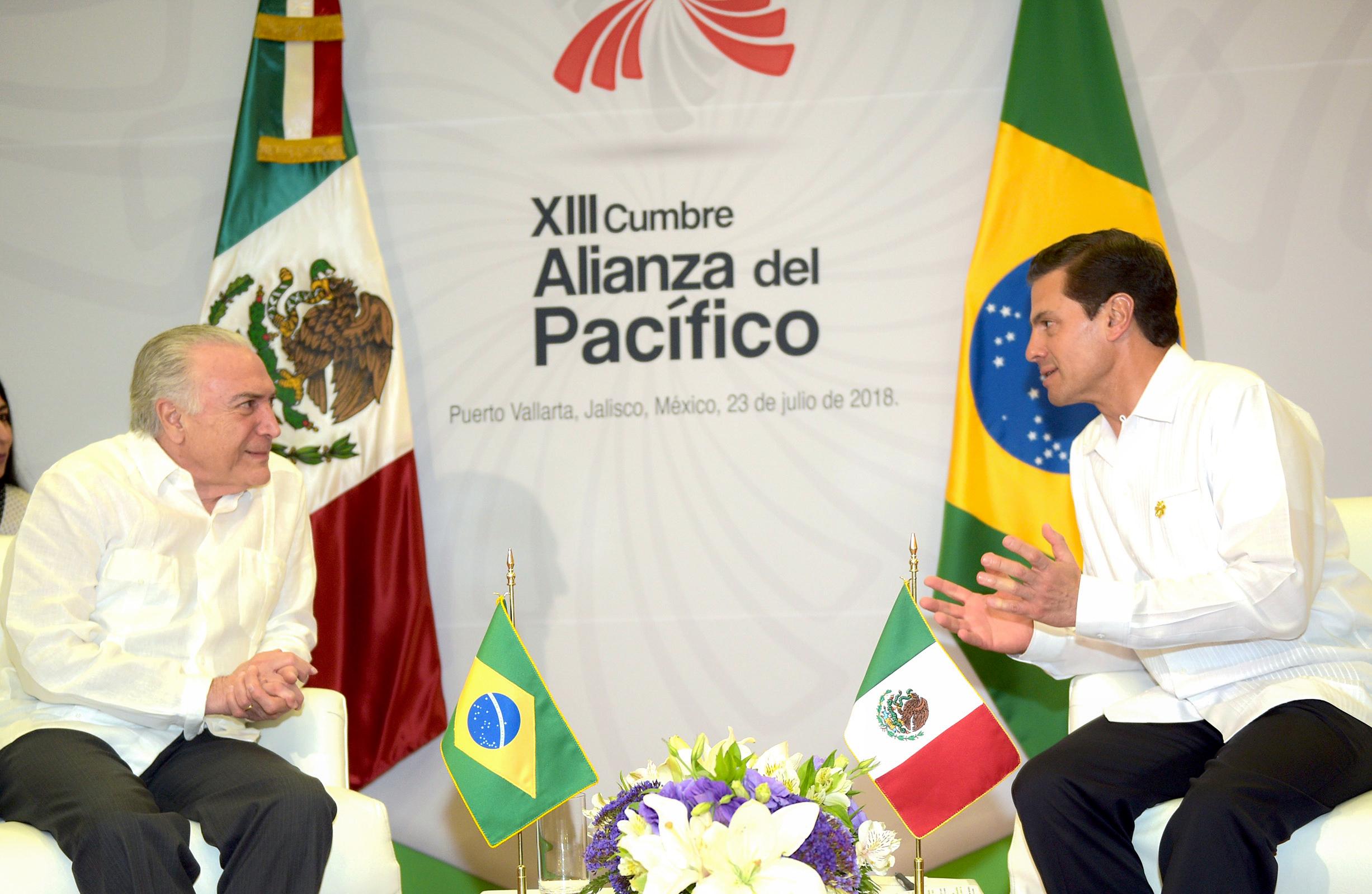 En el marco de la XIII Cumbre de la Alianza del Pacífico, el Presidente Enrique Peña Nieto, sostuvo una reunión bilateral con Michel Temer, Presidente de la República Federativa del Brasil.