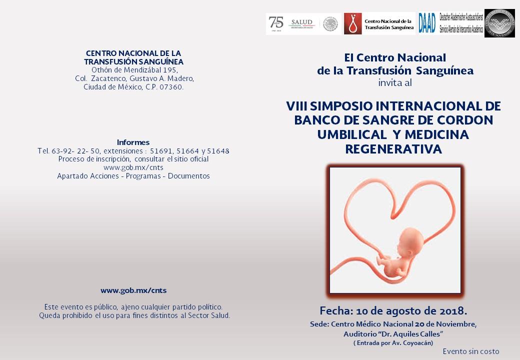 """VIII """"Simposio Internacional de Banco de Sangre de Cordón Umbilical y Medicina Regenerativa"""""""