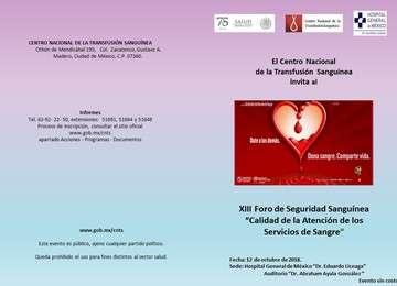 """XIII Foro de Seguridad Sanguínea """"Calidad de la Atención de los Servicios de Sangre"""""""
