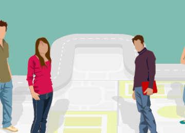Imagen: Ilustración de jóvenes universitarios