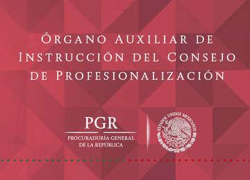 Letrero que dice: Órgano Auxiliar de Instrucción del Consejo de Profesionalización