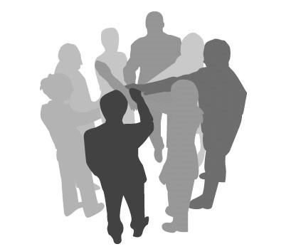 imagen a blanco y negro de un grupo de siluetas de personas juntando las manos