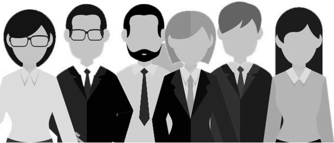ilustración en colores blanco y negro de un grupo de 6 personas