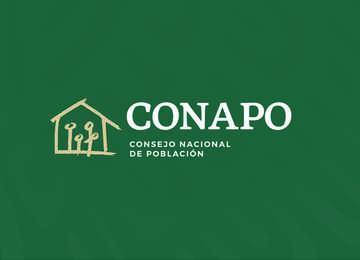 Logotipo Consejo Nacional de Población sobre fondo verde