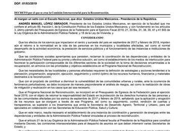 Imagen de la página uno del Decreto en el diario Oficial de la Federación