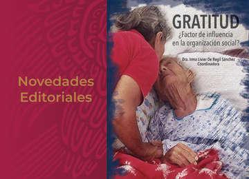 """Banner Novedades editorales con foto de libro """"Gratitud ¿Factor de influencia en la organización social?"""""""