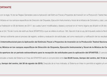 Apertura de periodo extraordinario para la recepción de solicitudes para la aplicación del EFIARTES