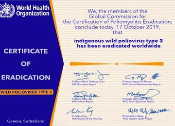 Certificado de erradicación del WPV tipo 3