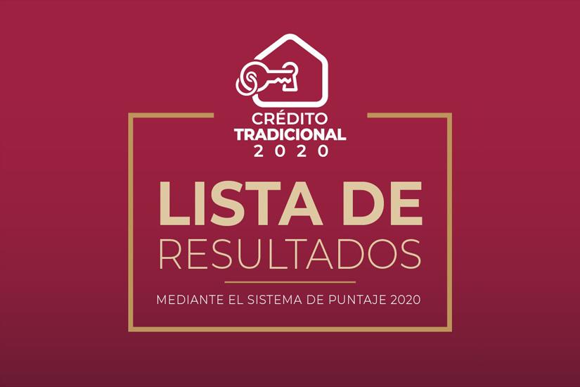 Lista de Resultados del Otorgamiento de Créditos, mediante el Sistema de Puntaje 2020