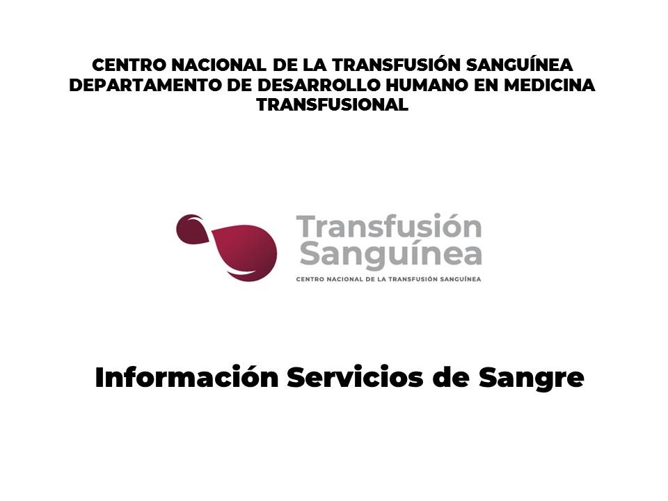 Información Servicios de Sangre