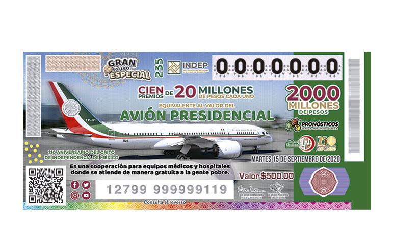 Gran Sorteo Especial No.235 equivalente al valor del Avión Presidencial.
