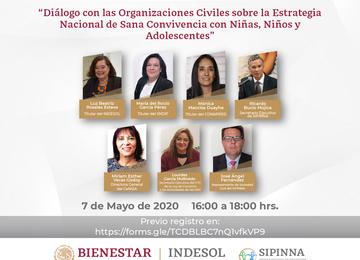 Banner Webinar Indesol: Diálogo con las Organizaciones Civiles sobre la Estrategia Nacional de Sana Convivencia con Niñas, Niños y Adolescentes.