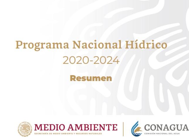 Texto: Programa Nacional Hídrico (PNH) 2020-2024 Logotipo de Conagua y Semarnat.