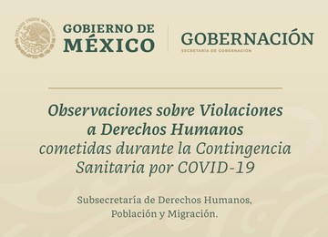 Imagen de la portada del documento Observaciones sobre Violaciones a Derechos Humanos cometidas durante la Contingencia Sanitaria por COVID-19.