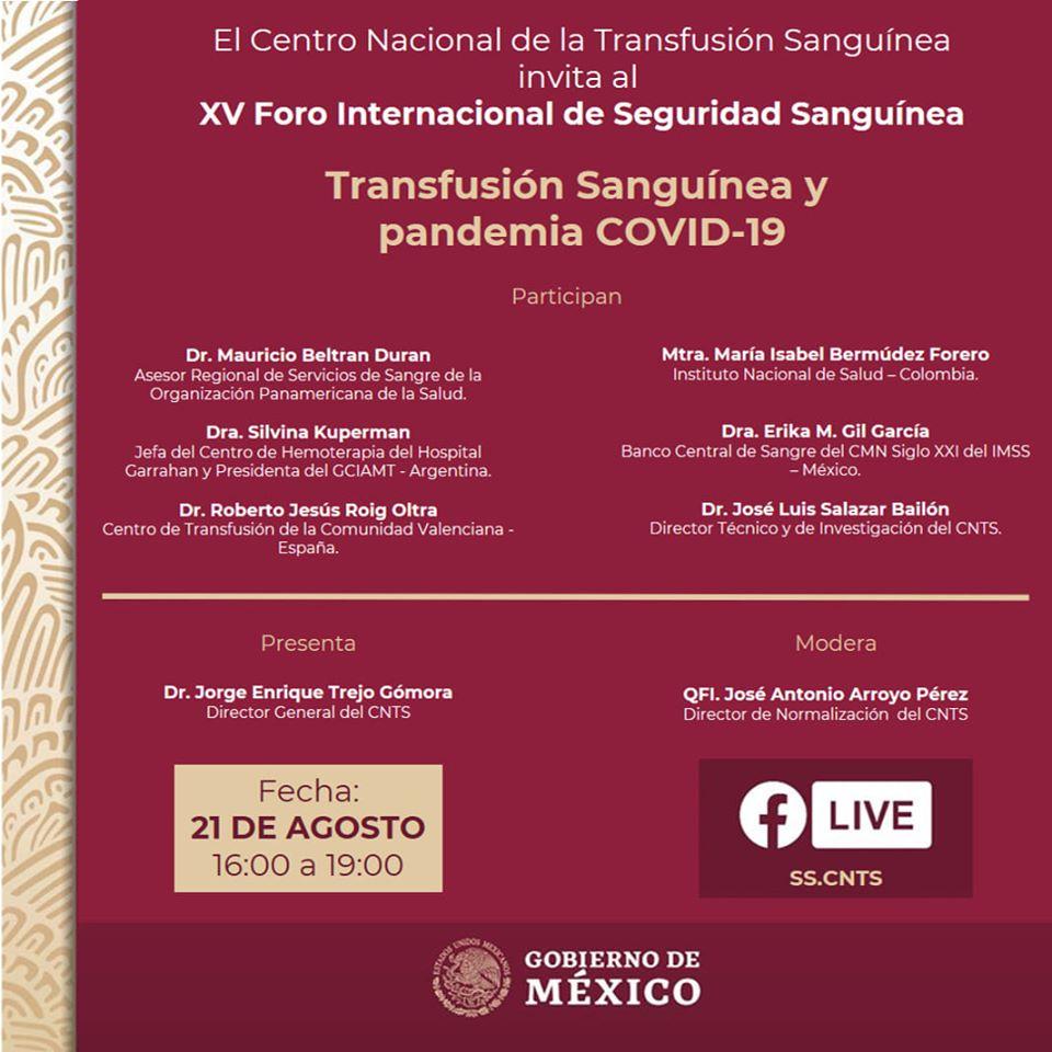XV Foro Internacional de Seguridad Sanguínea TRANSFUSIÓN SANGUÍNEA Y PANDEMIA COVID-19