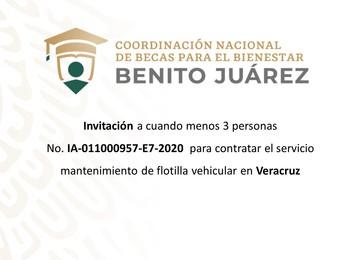 Invitación para contratar el servicio de mantenimiento de flotilla vehicular en Veracruz