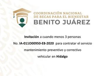Invitación a cuando menos tres personas para contratar el servicio de mantenimiento vehicular en Hidalgo