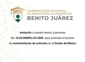Invitación a cuando menos tres personas  para contratar el servicio de mantenimiento de vehículos en el Estado de México