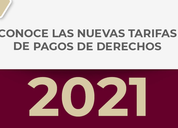 Tarifa de pagos de Derechos 2021