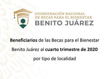 Beneficiarios de las Becas para el Bienestar Benito Juárez al cuarto bimestre de 2020 por tipo de localidad