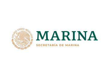 Escudo nacional en color dorado, del lado derecho la leyenda Marina en color verde y abajo en color dorado Secretaría de Marina