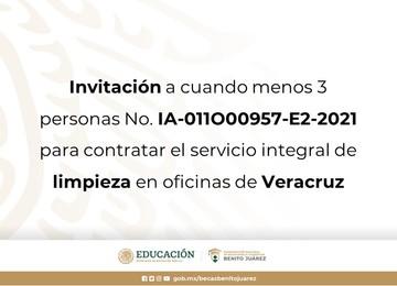 Invitación a cuando menos tres personas No. IA-011O00957-E2-2021 para contratar el servicio integral de limpieza en oficinas de Veracruz