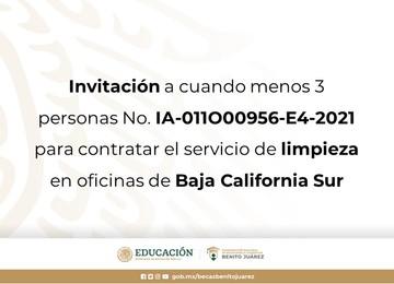 Invitación a cuando menos 3 personas No. IA-011O00956-E4-2021 para contratar el servicio de limpieza en oficinas de Baja California Sur