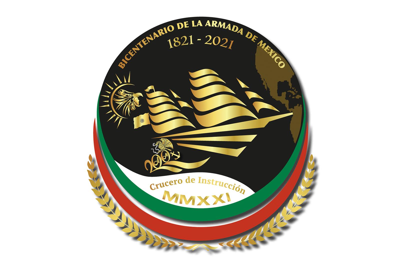 """Logotipo del Crucero de Instrucción MMXXI """"Bicentenario de la Armada de México"""""""