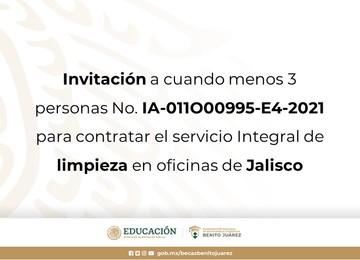 Invitación a cuando menos 3 personas No. IA-011O00995-E4-2021 para contratar el servicio Integral de limpieza en oficinas de Jalisco.