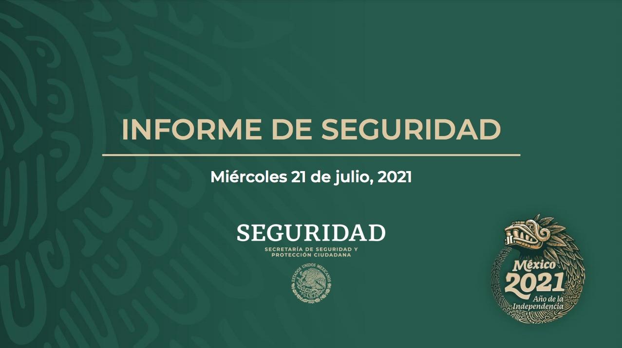Informe mensual de seguridad, julio 2021