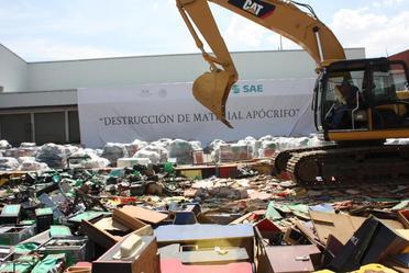 Destrucción de bienes apócrifos SAE-PGR