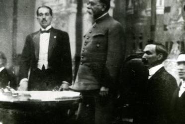 Venustiano Carranza protesta la nueva constitución, 31 de enero de 1917. Historia gráfica del Congreso Constituyente, 1916-1917. INEHRM.