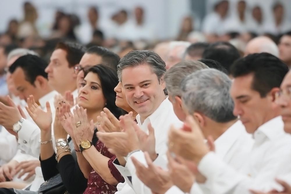 El secretario de Educación Pública, Aurelio Nuño Mayer, durante el quinto informe del gobierno de Tabasco.